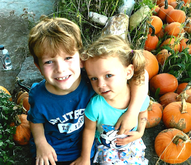 Carter and Emma at the Pumpkin Patch, 2018